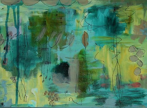 An abstract painting with pink and teal colours