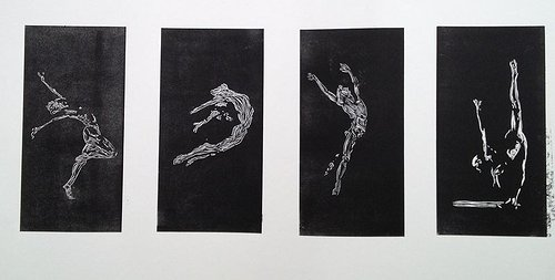 A series of four prints of figures in kinetic poses