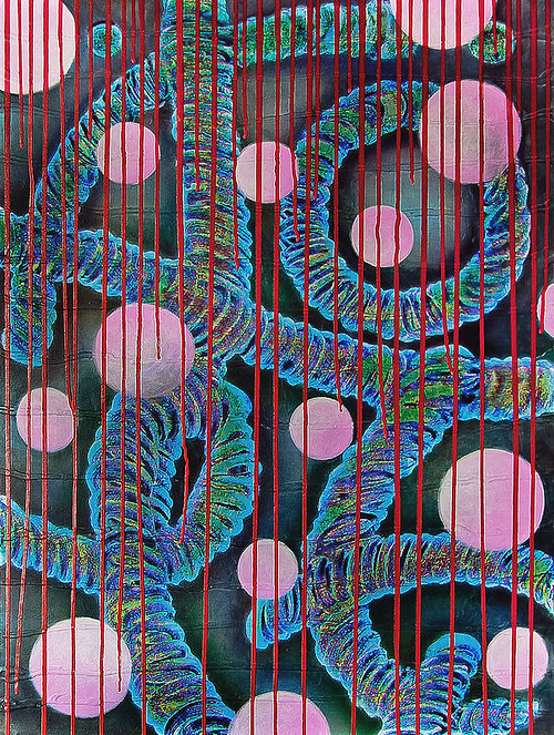 A painting made up of strange, bacteria-like shapes and lines