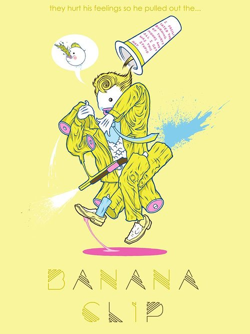 A brightly coloured digital drawing of a figure blended with a banana