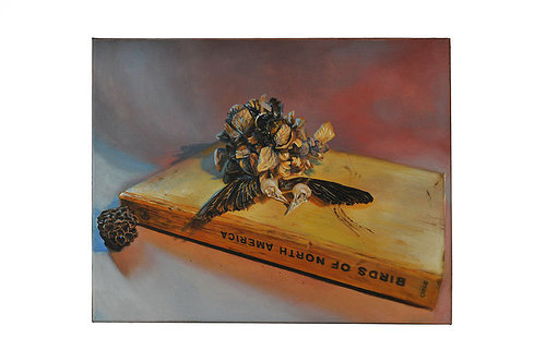 An oil paining of an old book with flowers on top