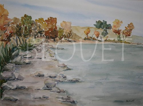 A watercolour painting of a beach in autumn, with orange and red trees