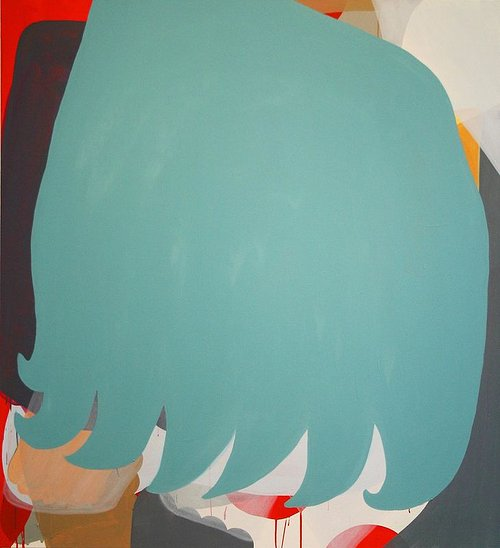 An abstract painting composed of flat, coloured forms
