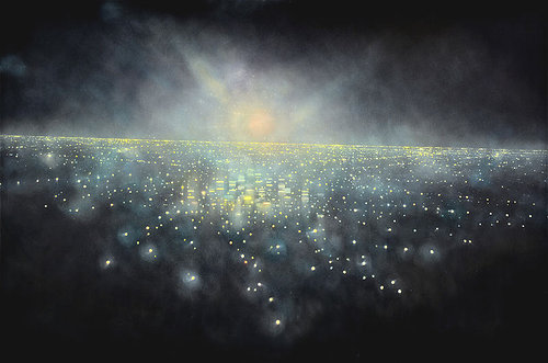 An oil painting of an abstracted aerial view of a nighttime city