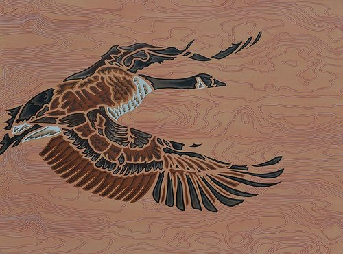 A stylized image of a canada goose in flight, painted on wood grain