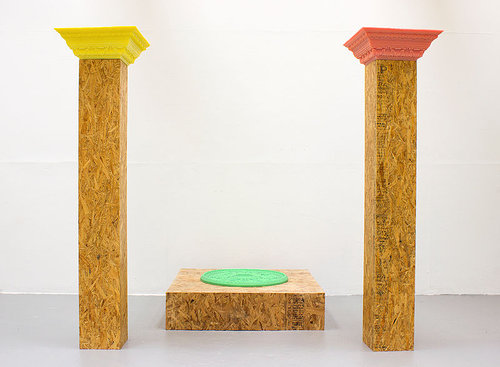 A set of columns made from particle board and wax