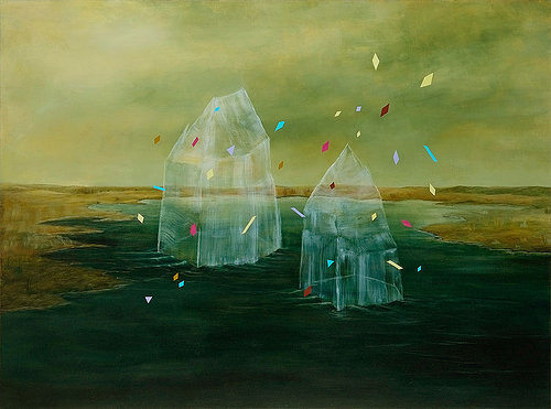 A painting of two icebergs in a dark environment with small shapes flying around them