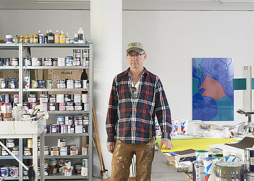 A photo of Gary Hume working in his studio in London