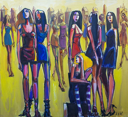 Painting of fashion models in London