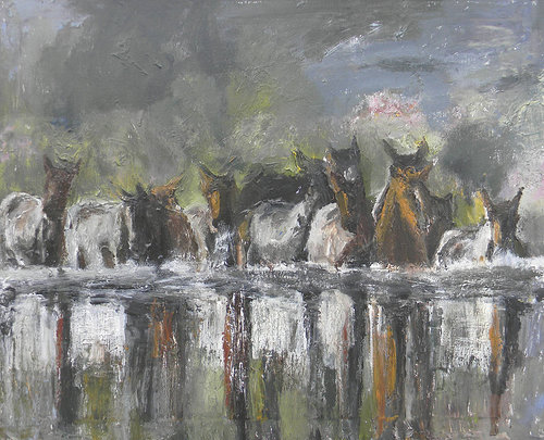 A loose, acrylic painting of a group of horses standing in water