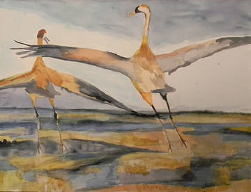 "A watercolour painting of two herons ""dancing"" with one another"
