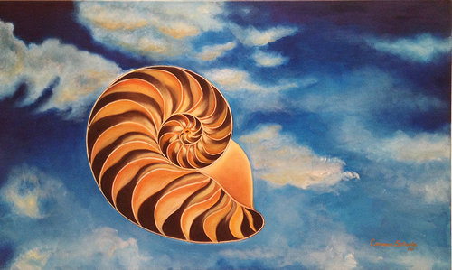 An oil painting of a cross-section of a nautilus shell