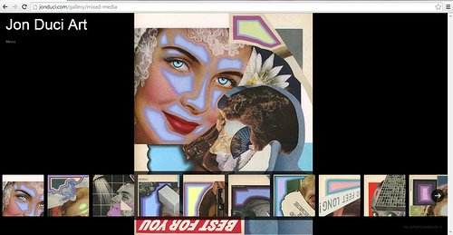A screen capture of the mixed media artworks on Jon Duci's website