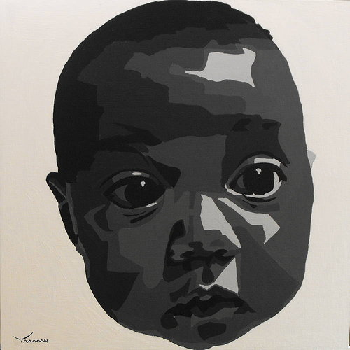 A graphically-shaded portrait of a baby in black and white
