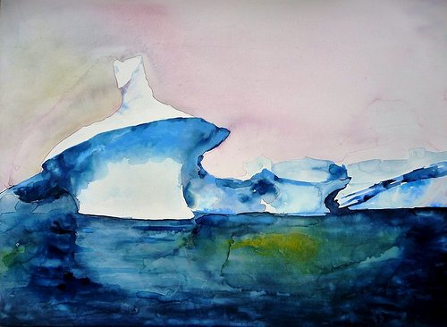 A watercolour painting of a mushroom-shaped iceberg