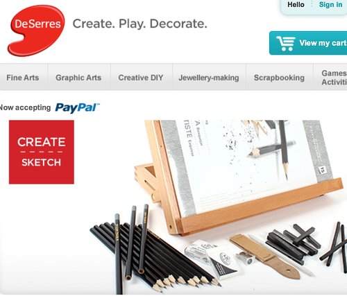 Deserres art supply website