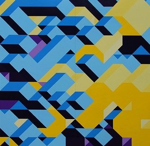 A painting composed of brightly coloured geometric forms