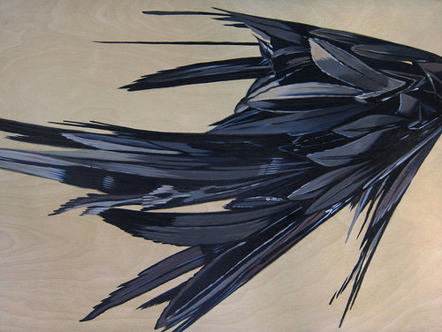 A painting of what appears to be a clump of black feathers on a beige background