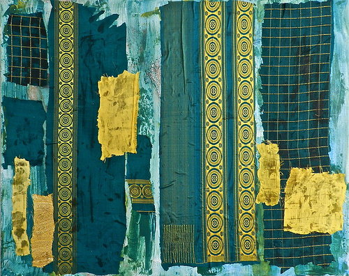 A blue and gold-toned abstract painting with pieces of a silk sari attached to it