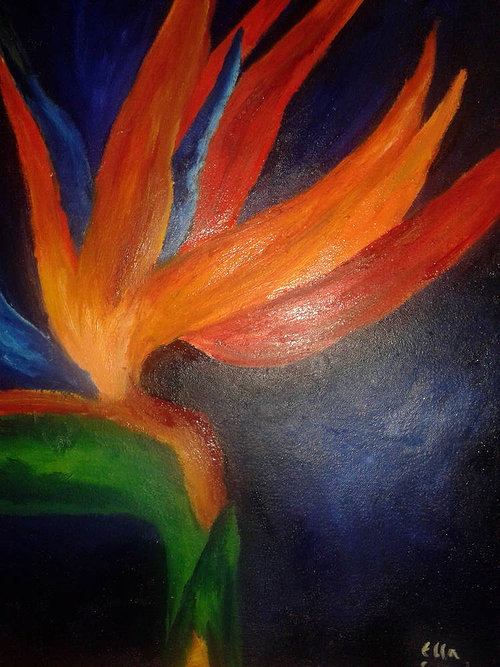 A painting of a bird of paradise flower on a black background