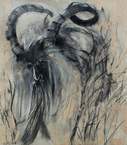 A charcoal and chalk drawing of a figure with large curled horns