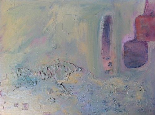"An abstract ""landscape"" painting with texture and whitish pink colour"