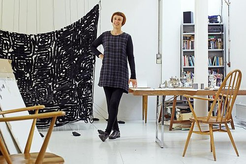 A photo of Cornelia Parker in her studio in London