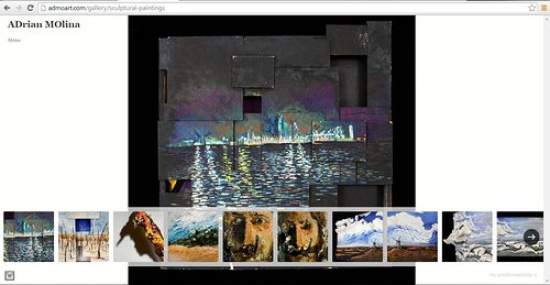 "A screen capture of the ""sculptural paintings"" gallery on Adrian Molina's website"