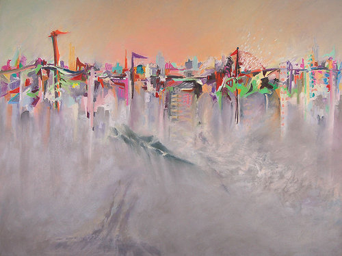 An abstracted pastel drawing of a city skyline