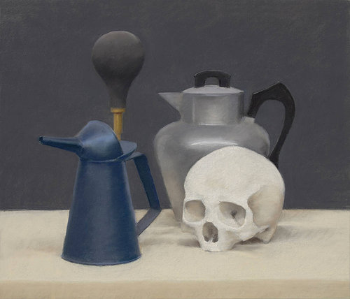 Still-life painting of a skull and tea pot