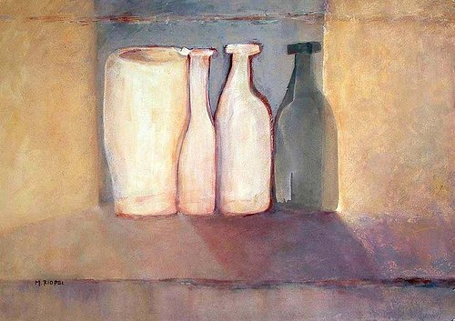 A pastel image of some bottles lined up beside each other