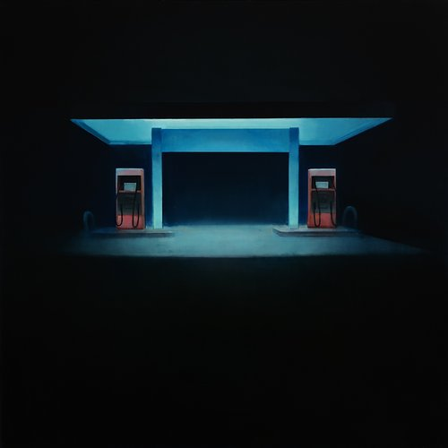 A painting of a deserted gas station at night