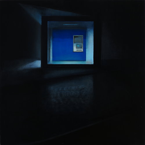 A painting of a deserted ATM at night