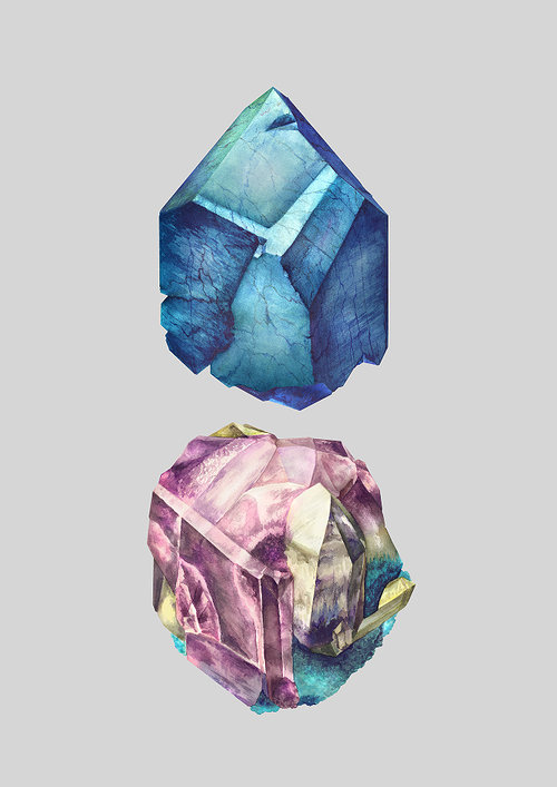 An illustration of two crystal forms on paper
