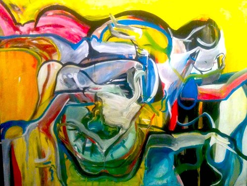 A large abstract painting with bright yellow tones