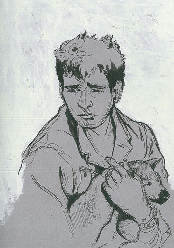 drawing of a man holding a dog