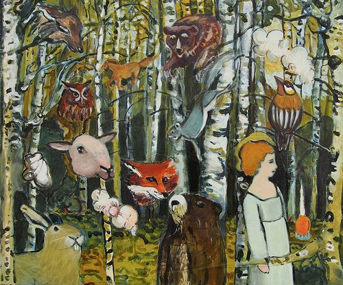 An oil painting of animals in a birch forest