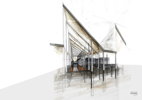An architectural sketch of a building in a future college