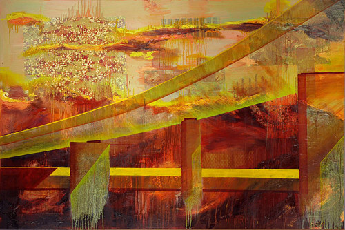 A painting of a bridge under cloud cover, with red and golden tones