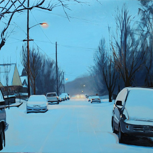 A painting of a snowy suburban street at dawn