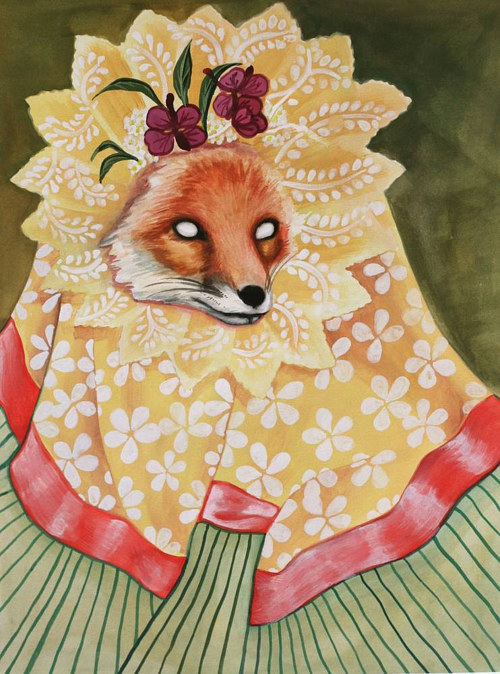 A watercolour painting of an eyeless fox dressed in grandmother's clothing