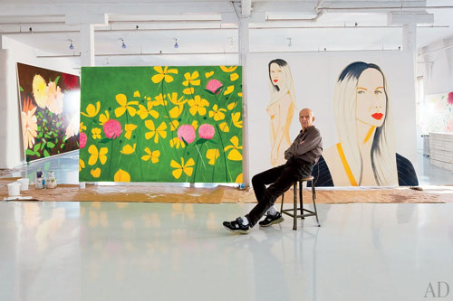 A photo of Alex Katz relaxing in his Manhattan studio