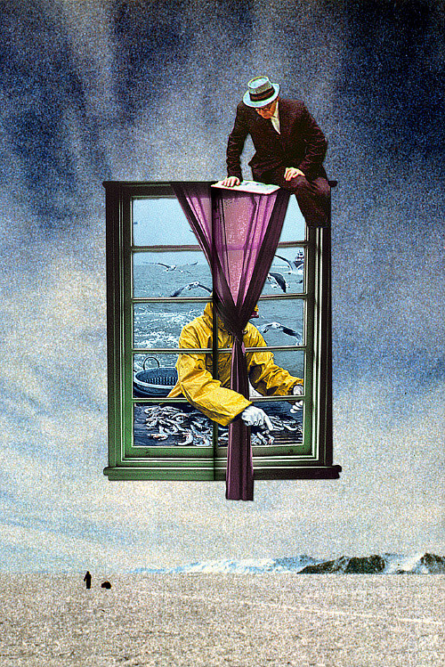 A strange collage of three male figures and a window floating in the air