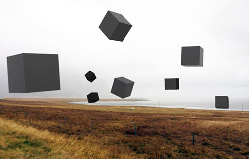A digital image of several black cubes floating above a field