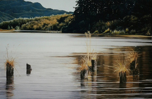 A painting of still water in a slough
