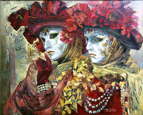 A painting of two figures wearing Venetian Carnaval garb