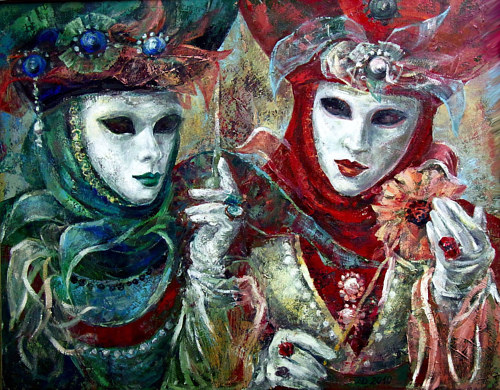 A painting of two figures in traditional Venetian festive garb