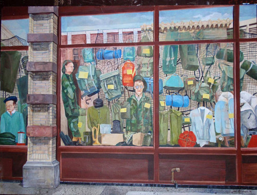 A painting of a army surplus shop window