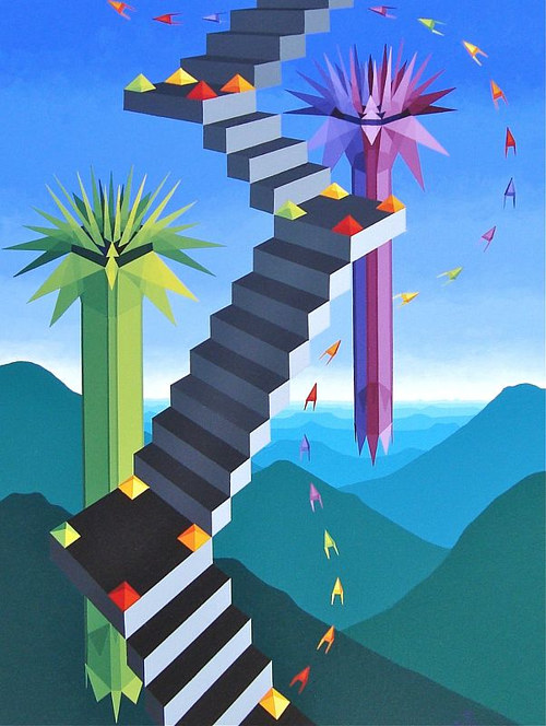 A painting of a colourful staircase through a celestial space