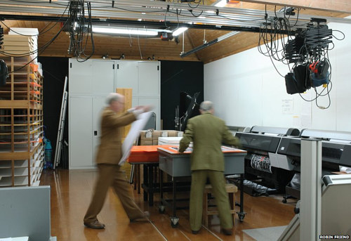 A photo of sculptors Gilbert and George working in their studio